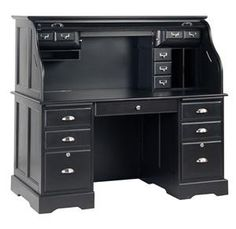 Black Roll Top Desk - I want to paint mine!!!!  What is my obsession with black furniture????