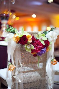 Colorful Floral Arrangement on Sweetheart Chair Wedding Chair Decorations, Wedding Table Flowers, Centerpiece Decorations, Wedding Table Settings, Wedding Chairs, Wedding Centerpieces, Seating Arrangement Wedding, Seating Plan Wedding, Wedding Flower Arrangements