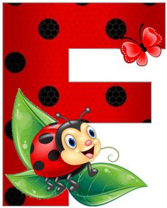 Ladybug Art, Clip Art Pictures, Spring Painting, Painted Letters, School Frame, Art Drawings Sketches Simple, Decoupage, Alphabet And Numbers, Cartoon Wallpaper