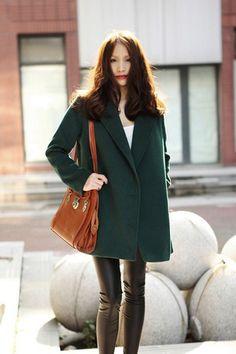 Fashion V Neck Long Sleeve Single Breasted Long Green Cotton Coat