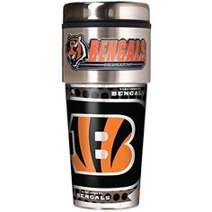 NFL Cincinnati Bengals Metallic Travel Tumbler Stainless Steel and Black Vinyl 16Ounce -- Want to know more, click on the image.