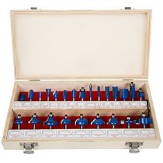"""Router Bit Set- 24 Piece Kit with ¼"""" Shank and Wood Storage Case By Stalwart (Woodworking Tools for Home Improvement and DIY) - Personal Gear Products Search Woodworking Jigsaw, Best Woodworking Tools, Woodworking Logo, Cool Woodworking Projects, Woodworking Workshop, Popular Woodworking, Woodworking Furniture, Woodworking Fasteners, Woodworking Organization"""