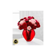 The My Heart to Yours Rose Bouquet by FTD VASE INCLUDED ($50) ❤ liked on Polyvore featuring home, home decor, rose home decor and heart home decor