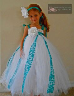 Hey, I found this really awesome Etsy listing at http://www.etsy.com/listing/160724004/white-teal-rose-tutu-flower-girl-dress