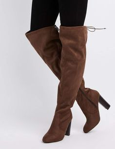 0bef536aa1e Charlotte Russe Wide Width Tie-Back Over-The-Knee Boots