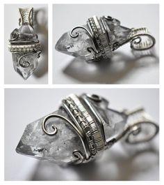 Phantom Quartz Pendant 02 by XenOhm on DeviantArt Handmade Wire Jewelry, Wire Jewelry Designs, Wire Jewelry Making, Jewelry Crafts, Jewelry Rack, Jewellery, Wire Pendant, Wire Wrapped Pendant, Wire Wrapped Jewelry