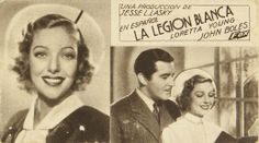 """Programa de mano de cine de la película """"La legión blanca"""", estrenada en España en el año 1934"""