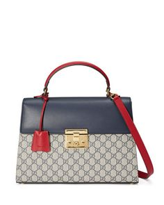 Padlock+GG+Supreme+Top-Handle+Satchel+Bag,+Beige/Blue/Red+by+Gucci+at+Neiman+Marcus.