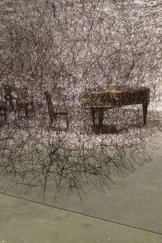Thread installation by Berlin based Japanese artist Chiharu Shiota, for Galerie Daniel Templon- Art Basel 2013.