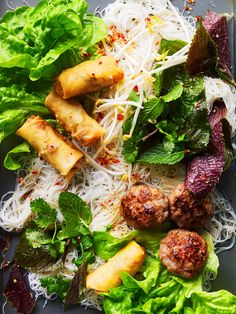 (Vietnamese) Grilled pork & spring roll noodle salad (bun cha) one of my all time favourtie!