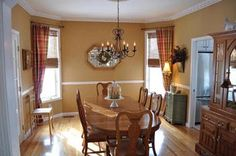 paint colors for dining room with chair rail | Then it went to this. Painted below the chair rail white and added the ...