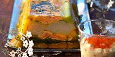 Terrine de Saint-Jacques et de saumon en gelée