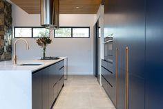 Deakin Residence - Kitchen Black Interior Design, Residential Interior Design, Interior Styling, Interior Decorating, Contemporary Design, Modern Design, Natural Stone Wall, Timber Cladding, Modern Kitchen Design
