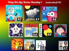 App round-up 1: Here's how the first 11 apps we rated scored (out of 5.0): http://pickykidappguide.com/app-reviews/kids-app-review-roundup-1