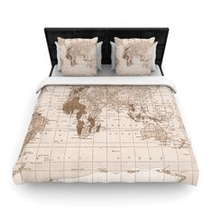 """Catherine Holcombe """"Emerald World"""" Vintage Map Twin Woven Duvet Cover - Outlet Item"""