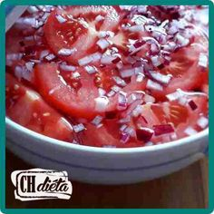Paradicsom saláta | CH Diéta Chili, Salsa, Soup, Vegetables, Ethnic Recipes, Cooking, Chile, Vegetable Recipes, Salsa Music
