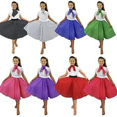 DELUXE CHILDS ROCK N ROLL SKIRT FANCY DRESS COSTUME SET 26 INCHES LONG (66CM) POLKA DOT 50'S SKIRT WITH NECK SCARF COLOURED ROCK AND ROLL SWING OUTFIT CHILD (PINK WITH WHITE DOTS)