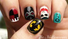 Batman, Harley Quinn, (not sure :/ ) , Joker, and Riddler nail art