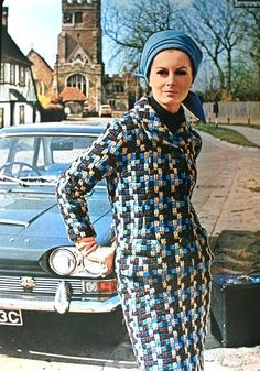 In the village street at Biddenden... design by Jo Mattli, Halston hat. Vogue Pattern Book Autumn 1967 (N° 7152)
