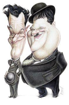 نتیجه تصویری برای ?Laurel and Hardy caricature?
