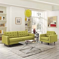 Modway Empress Upholstered Armchair and Sofa Set (Wheatgrass), Green Living Room Grey, Living Room Sets, Living Room Modern, Living Room Furniture, Living Room Designs, Modern Sofa, Small Living, Sofa Material, Contemporary Armchair
