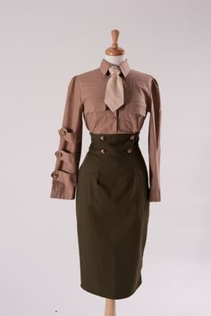 Items similar to Pinup Military Suit Pin Up Army Outfit High Waist Skirt Shirt and Tie Wedge Cap Hat Military Cosplay Custom Size including Plus Sizes on Etsy Vintage Military Uniforms, Military Suit, Military Women, Military Fashion, Rock Shirts, Army Clothes, Clothes For Women, 1940s Fashion, Vintage Fashion