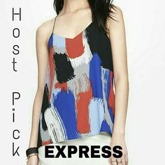 """2X HP  Barcelona Reversible Cami Gorgeous. Black.Royal blue. Baby blue. Gray. Orange-red. White. The reverse side is black. Thin spaghetti like straps. Keyhole in back. 100% polyester. Worn once for about 2 hours. About 28-29"""" in length. Underarm to Underarm measures about 40"""" total. PRICE IS FIRM. Express Tops Camisoles"""