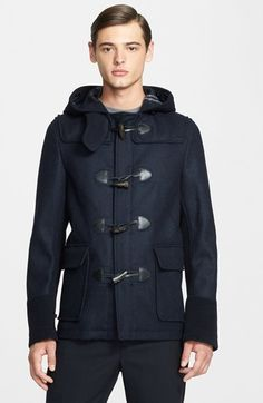 $1,455, Navy Duffle Coat: Leather Detail Wool Car Coat by Junya Watanabe. Sold by Nordstrom. Click for more info: http://lookastic.com/men/shop_items/82435/redirect
