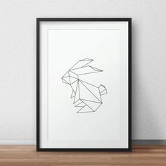 Geometric Rabbit,Black Rabbit, Rabbit, Black and White Artwork, Home Decor, Gray…