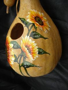 Hand Painted Gourd- Sunflowers on Birdhouse art sunflower Your place to buy and sell all things handmade Making Resin Jewellery, Resin Jewelry, Wood Block Crafts, Hand Painted Gourds, Gourds Birdhouse, Bird Houses Painted, Wood Burning Patterns, Glitter Paint, Gourd Art