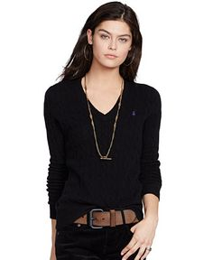 Polo Ralph Lauren V-Neck Cable-Knit Wool-Cashmere Sweater - Sweaters - Women - Macy's