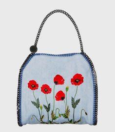 Stella McCartney Lar  Stella McCartney Large Embroidered Denim Falabella Bag