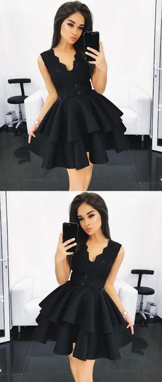 homecoming dresses short Black Homecoming Dress,V Neck Homecoming Dress,Lace Homecoming Dress,Ruffles Homecoming Dress,Short Prom Dress Hello! If you request some other details Lace Homecoming Dresses, Black Prom Dresses, Grad Dresses, Pretty Dresses, Beautiful Dresses, Dress Black, Dress Prom, Women's Dresses, Black Dress Makeup