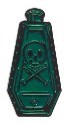 CREEPY CO. POISON BOTTLE ENAMEL PIN GREEN - This poison bottle is a replica of the highly collectible glass originals made by Wheaton, shrunk down by Creepy Co. and made into a fun enamel pin! The metal has a unique shine shifting effect and the enamel fill is a translucent green, giving it a glass like quality. Truly eerie and stunning! Please note: the colors on your screen may vary from the actual color of the pin. The translucent fill changes value depending upon how the light catches…