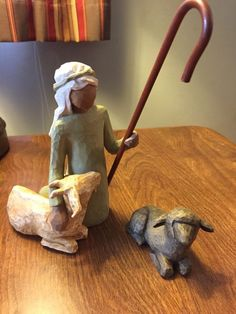 Willow Tree Nativity REPLACEMENT PIECES Shepard 1 Sheep Stable Animals LOT OF 2