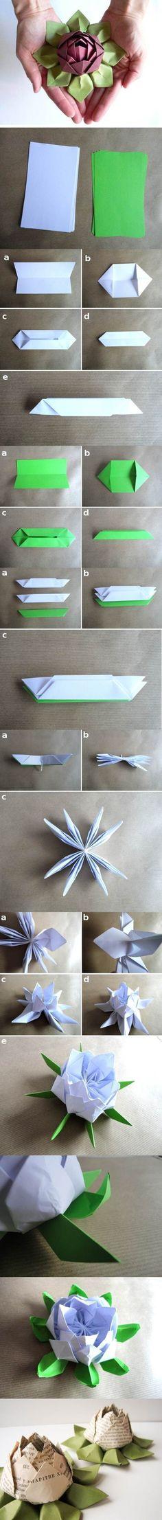 Flores de Origami para decoração do centro das mesas.