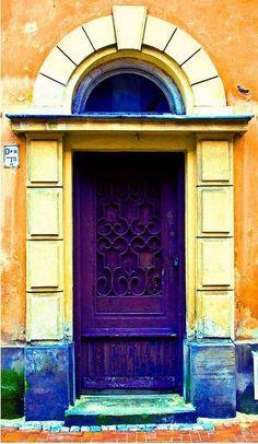 purple, yellow, blue, orange distressed door...love it!