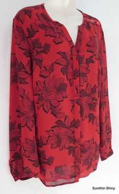 NEW Coldwater Creek Blouse XL 16 Red Chiffon Floral Print Lined Bodice