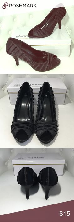 """❗️FINAL PRICE❗️NIB Black satin open toe pump. NWT NIB Gorgeous black satin open toe pump with cinched detailing. Very comfortable and easy to walk in. Small, 3"""" heel. Never worn! Look beautiful on! Comes with original box and 2 heel replacements. Shoes Heels"""