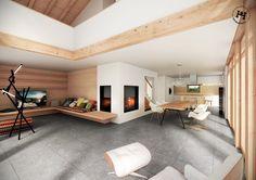 Heimatstyl Livingroom - offener Dachstuhl, Panoramafenster zum Garten, gemütliche Lounge mit Ofenbank.