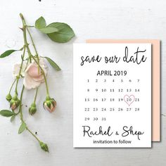 Calendrier imprimable cartes Save the date date de coeur