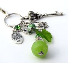 How To Make A Purse Charm   Green and Silver Clip On Purse Charms PC710   DesignsForAnAngel ...