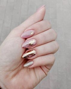 moder style, pink , rose gold , pink , gold , glitter , nails , beauty , beautiful , nail design