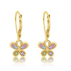 Kids Earrings - 925 Sterling Silver with a Yellow Gold Tone Mixed Colored Crystal Butterfly Leverback Children's Earrings Made with Swarovski Elements Kids, Children, Girls, Baby