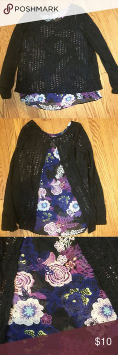 NWOT Black Knit and Floral Open Back Top Never been worn!  Please make and offer if you are interested --just trying to get it off my hands! Charming Charlie Tops Blouses