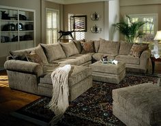 Chenille Sectional Sofa Couch in Olive Fabric & Chaise Lounge. I'm obsessed with Chenille! U Shaped Sectional Sofa, Sectional Sofa With Chaise, Sofa Couch, Living Room Sectional, New Living Room, Living Room Sets, Sofa Set, Living Room Decor, Fabric Sectional