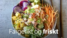 Ris, reker, grønnsaker, frukt og en sterk majones er ingrediensene i Lise Finckenhagens pokebolle. Pasta Salad, Cobb Salad, Just Eat It, Fish Dinner, Frisk, Dumplings, Guacamole, Potato Salad, Cabbage