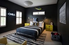 Sleek black is the perfect choice for the teen bedroom [Design: Sally Wheat Interiors]