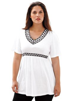 Top, tunic length embroidered empire waist tee by Ellos® | Plus Size New Arrivals | OneStopPlus