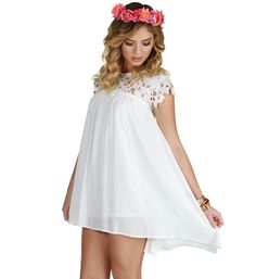 Pre-Order: Ivory Crochet Swing Dress